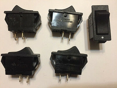 5pcs Black Rocker Switch Swann 39 SPST ON/OFF Snap in Panel Mount 15A 125VAC