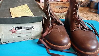 Vintage 1930s or 1940s Star Brand Boots Mens Size 10, International Shoe Co. NOS