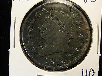 1814 Classic Head Large Cent VG Very Good Great Type Coin Light Enviro Damage