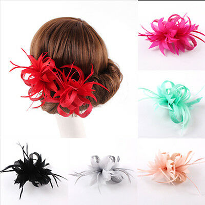 Sinamay Racing Wedding Party Fascinator Races Feather Flower Decorations Clip