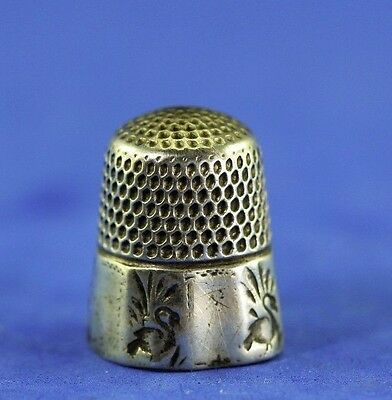 Antique Sterling Thimble With Impressed Simple Swans