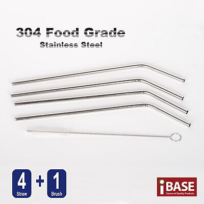5X Straw Brush 304 SUS Food Grade Stainless Steel Drinking Straws Bent Reusable