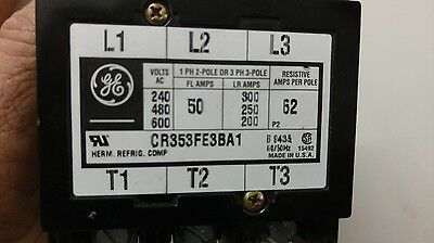 GE GENERAL ELECTRIC CONTACTOR CR353fe3ba1 50 amp 240/480/600v
