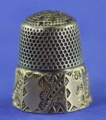 Antique Sterling And Gold Band Thimble