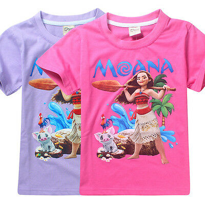 Kids Girls Moana Clothing Short Sleeve Cartoon T-Shirt Tee Top 4-12yrs Free Ship