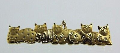 Vintage Goldtone Ajc Five Cat Bar Pin