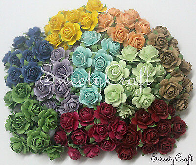 100 Mix 10 color ( RO - 01 ) Mulberry Paper Rose Flower handmade size 1.5 cm.