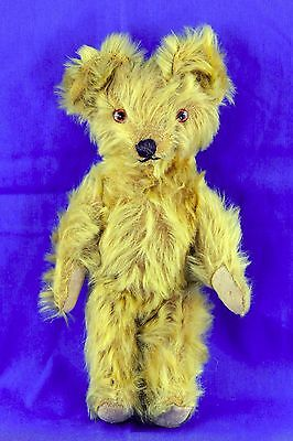 Vintage Light Colored Long Mohair Teddy Bear Glass Eyes Jointed Arms Legs