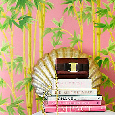 rrp$349 Palm Beach Chic Chinoiserie Pink Bamboo Wallpaper HOLLYWOOD REGENCY Boho