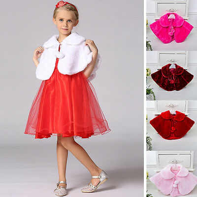 Baby Childrens Girls Fur Bolero Shrug Shawl Wrap Bridesmaid Wedding Cloak Cape