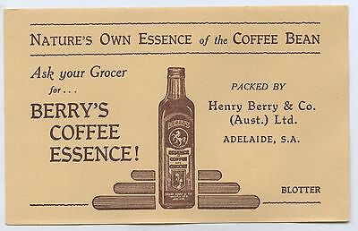1950's Unused Vintage Blotter Henry Berry's Coffee Essence South Australia  D90.