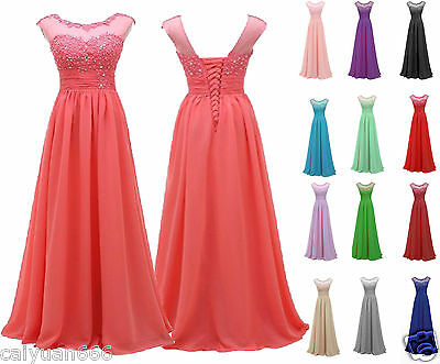 Long Chiffon Lace  Formal Bridesmaid Ball Gown Party Cocktail Evening Prom Dress