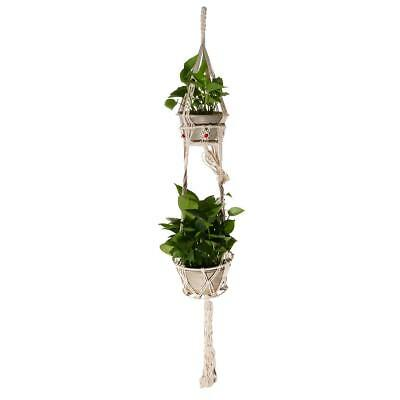 Plant Hanger 125cm Handmade Macrame Indoor Outdoor Double Planter Pot Holder