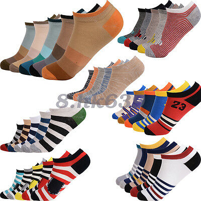 5 Pair Fashion Mens Ankle Socks Low Cut Crew Casual Sport Color Cotton Socks