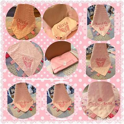 GIRLS  PERSONALISED baby COMFORT BLANKET taggy ribbon crown heart flower