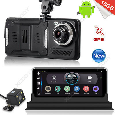 "HD 1080P 7"" Car GPS Navigation Dual Lens Rearview Camera Dash Cam DVR Recorder"