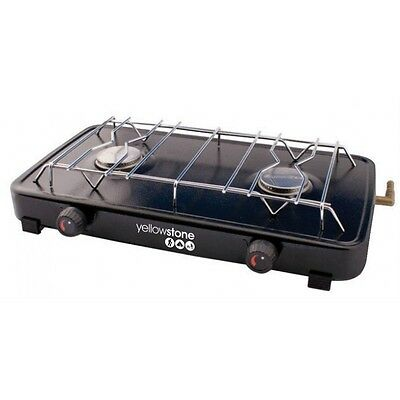 Yellowstone Steel Compact Double Gas Stove Camping Cooker Propane Butane