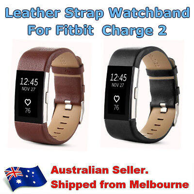 Genuine Leather Replacement Strap Watch Wrist Band Bracelet For Fitbit Charge 2