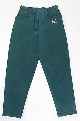 "VINTAGE RETRO 80s GREEN DENIM CROPPED EMBROIDERED UNICORN JEANS W30"" L27 SIZE 12"