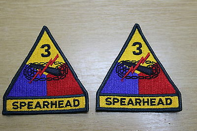 Pair 2 X 3Rd Armoured Armored Division Cloth Patches Genuine Us Made Patch
