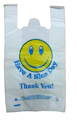 """Plastic Carrier Bags Vest Thank You Jumbo 12""""X18""""X21"""" Large Size Strong 24Mu Hnd"""