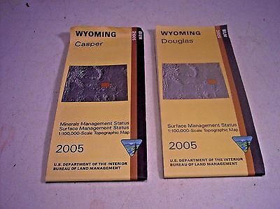 2 USGS BLM edition Topographic Maps from Wyoming CASPER & DOUGLAS 2005 mineral