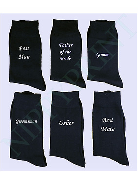 Custom Wedding Dress Black Socks Groom Best Man Personalise Your Text Usher Gift
