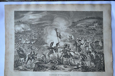 Battle Of Waterloo Antique Print Copper Plate Engraving 1817