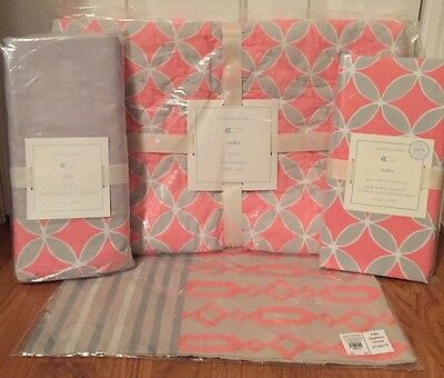 NEW 4PC Pottery Barn Kids Baby Soho Nursery Crib Bedding Set GRAY CORAL