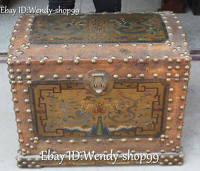 57cm Chinese Wood Lacquerware Dragon Loong Bat Treasure Dart Box Chest Statue