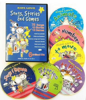 Children's Songs, Kids Stories & Party 6 CDs rhymes songs stories & games *NEW*