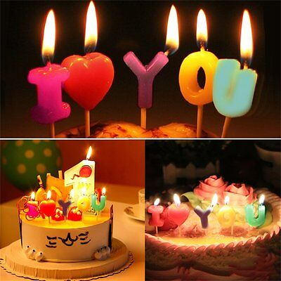 I LOVE YOU Birthday Candle Gift Cartoon Craft Cute Party Supplies Cake Candle XP