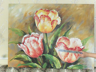 Large Oil Painting Tulips Flowers Signed C. Barone