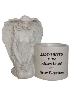 Grave memorial kneeling angel Plant POT stone effect optional artificial flower