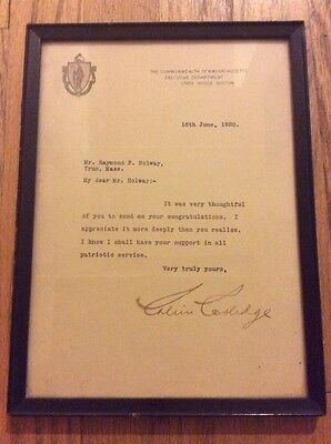 1920 Governor Calvin Coolidge Framed Signed Letter Selection as Harding's VP