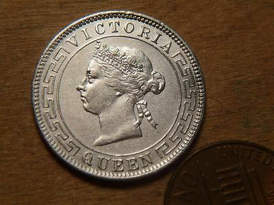 Ceylon 1895, Silver 50 Cent, AU Details But Dipped, SKU #8654