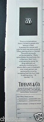 "1975 TIFFANY & CO ""TRY GOD"" Ltd Edition Silver PIN Pendant Vtg Jewelry Print Ad"