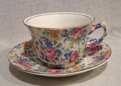 James Kent Fenton Rosalynde Chintz Cup and Saucer Smooth Edge