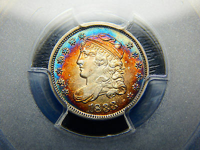 1833 H10C Capped Bust Half Dime AU-55 PCGS/CAC Wow Rainbow Toning! Looks Higher!