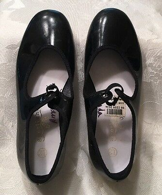 Size 12 Girls Patent Leather Black Tap Shoes Spotlights Dance