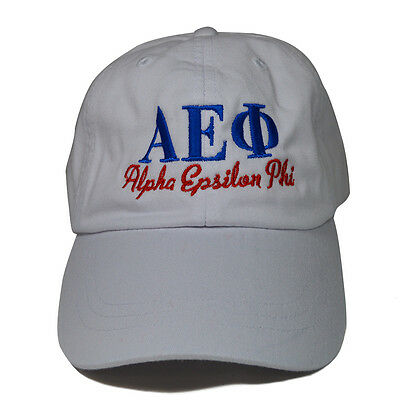 8698407837a Alpha Epsilon Phi (S) White Hat with Blue Red Thread Baseball Hat