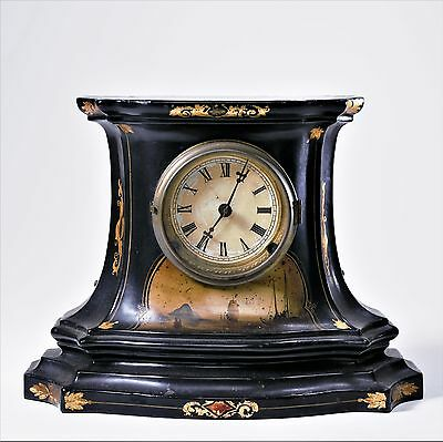 Antique American Civil War Era Clock w/ Original Paint Gilt Nautical Marine NICE