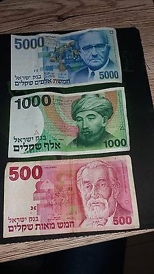 Lot Of 6 Old Israel Well Used Banknotes