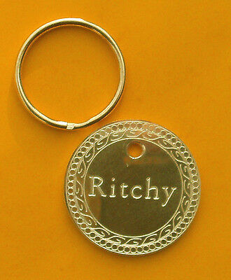 Dog Tag Id Pet Name Large Strong Brass Gold - 2Mm Thick!