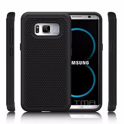 Fits Samsung Galaxy S8 Case Shockproof Rugged Rubber Hybrid Impact Cover - Black
