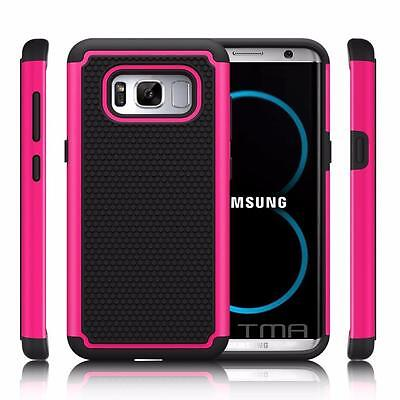 Fits Samsung Galaxy S8 Case Shockproof Rugged Rubber Hybrid Impact Cover - Pink