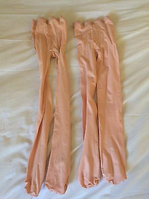 Girls Size S/M Pink Tights Foot Hole Capezio Lot of 2