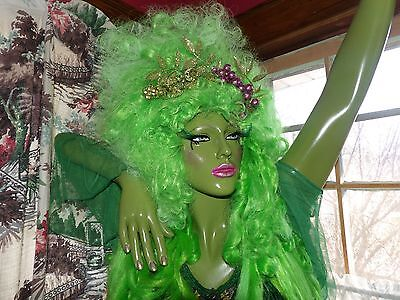 green fairy wig cosplay  custom made from etsy 175.00 retail