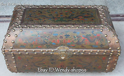 68cm China Wood Lacquerware Two Dragon Play Bead Bat Treasure Box Chest Statue