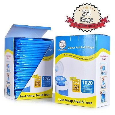 Diaper Pail Refill Bags 1020 CountsFully Compatible with Arm&Hammer Disposal ...